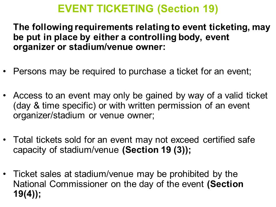 EVENT TICKETING (Section 19)
