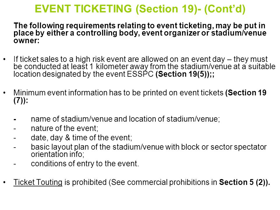 EVENT TICKETING (Section 19)- (Cont'd)