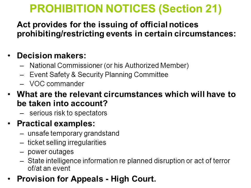 PROHIBITION NOTICES (Section 21)