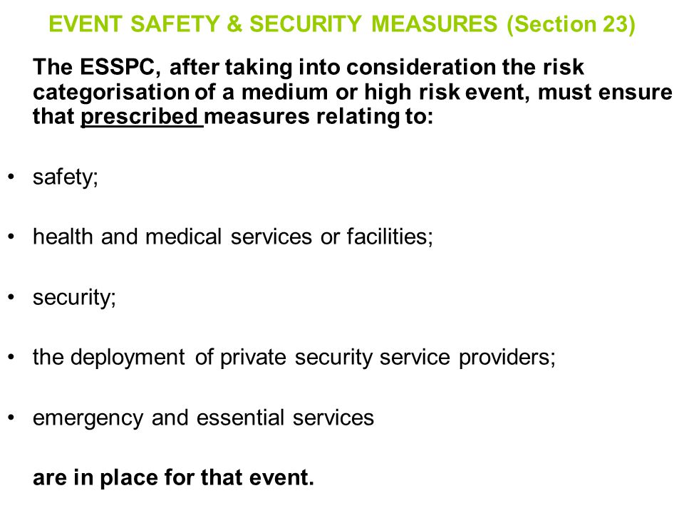 EVENT SAFETY & SECURITY MEASURES (Section 23)