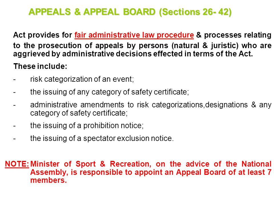 APPEALS & APPEAL BOARD (Sections 26- 42)