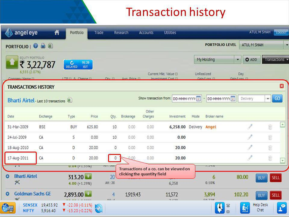 Transaction history Transactions of a co. can be viewed on clicking the quantity field