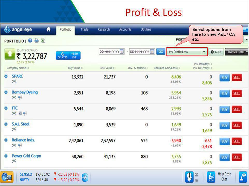 Profit & Loss Select options from here to view P&L / CA etc.