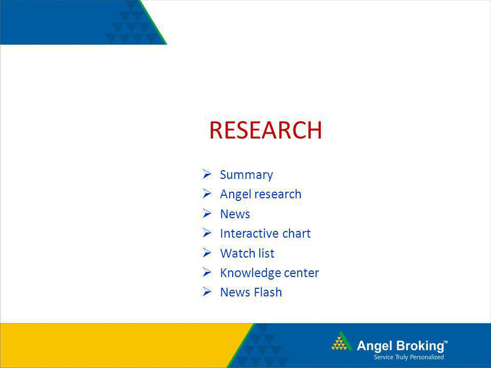 RESEARCH Summary Angel research News Interactive chart Watch list
