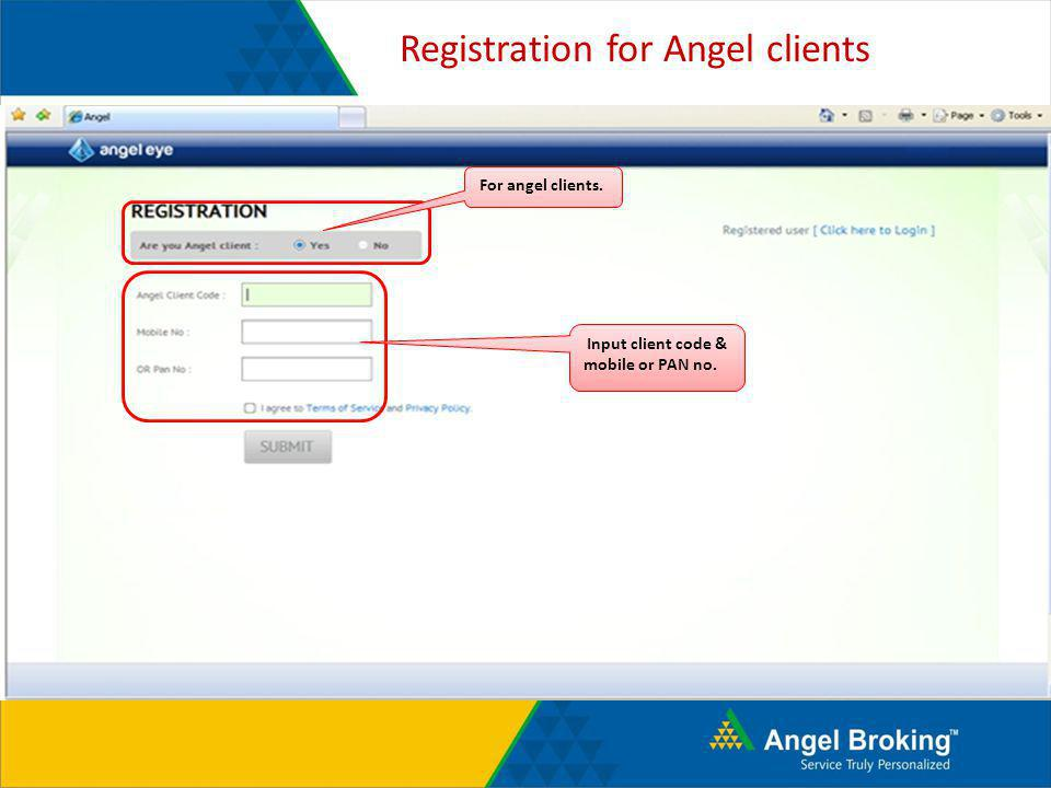 Registration for Angel clients