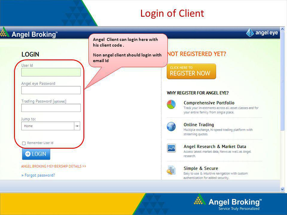 Login of Client Angel Client can login here with his client code .
