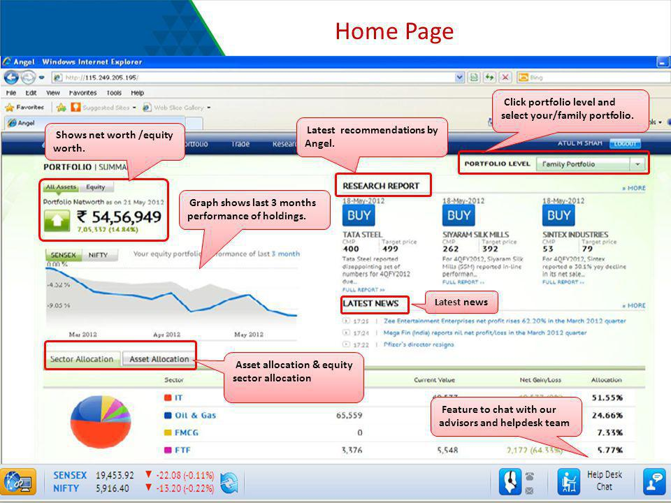 Home Page Click portfolio level and select your/family portfolio.