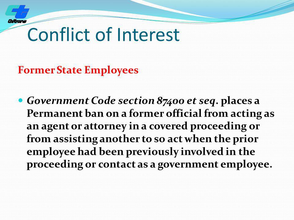 Conflict of Interest Former State Employees