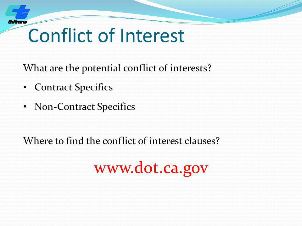 Conflict of Interest www.dot.ca.gov