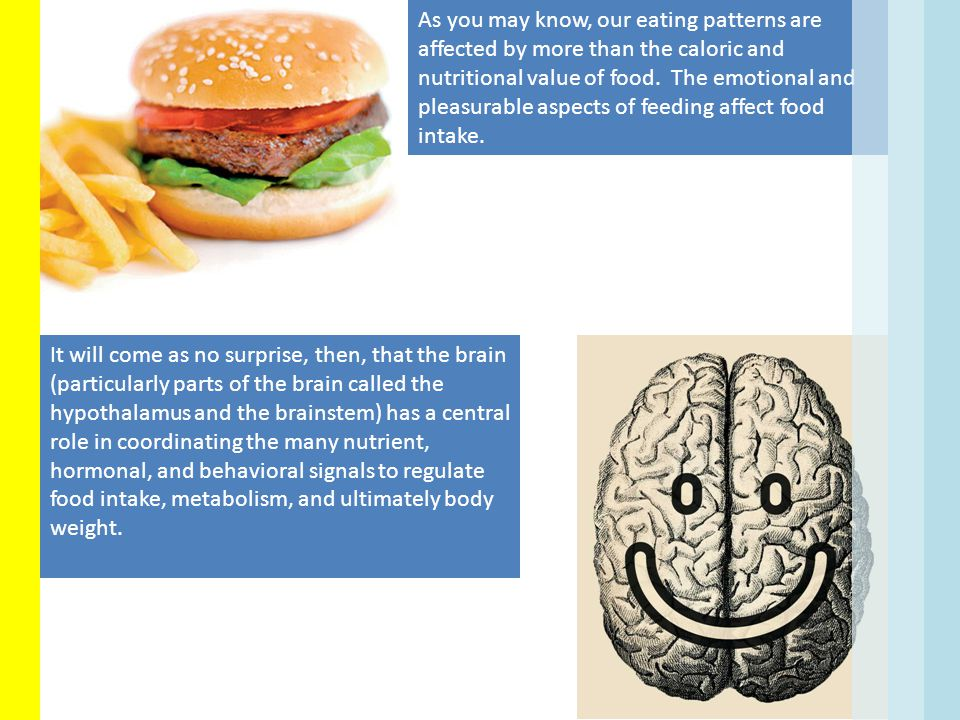 As you may know, our eating patterns are affected by more than the caloric and nutritional value of food. The emotional and pleasurable aspects of feeding affect food intake.