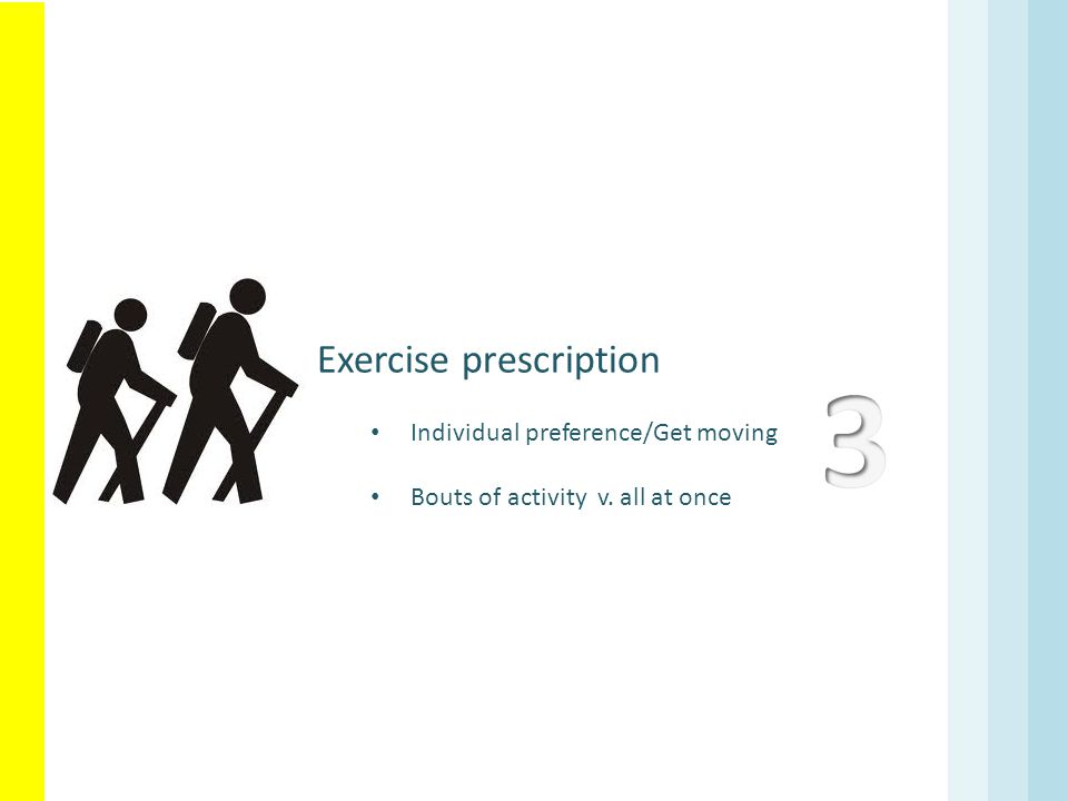 3 Exercise prescription Individual preference/Get moving
