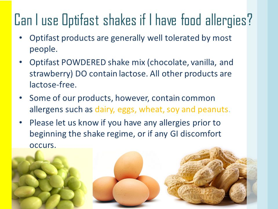 Can I use Optifast shakes if I have food allergies