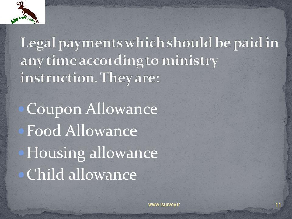 Coupon Allowance Food Allowance Housing allowance Child allowance