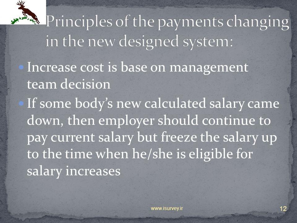 Principles of the payments changing in the new designed system:
