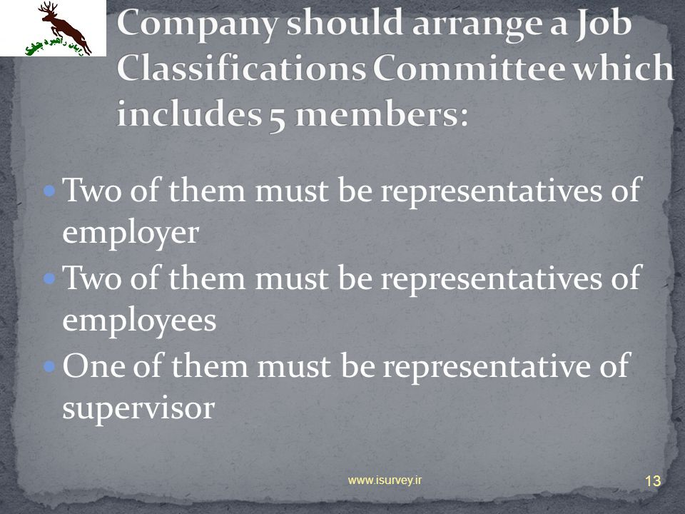 Company should arrange a Job Classifications Committee which includes 5 members: