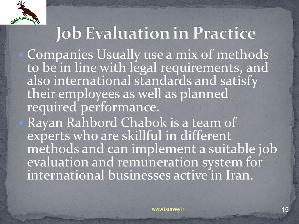Job Evaluation in Practice
