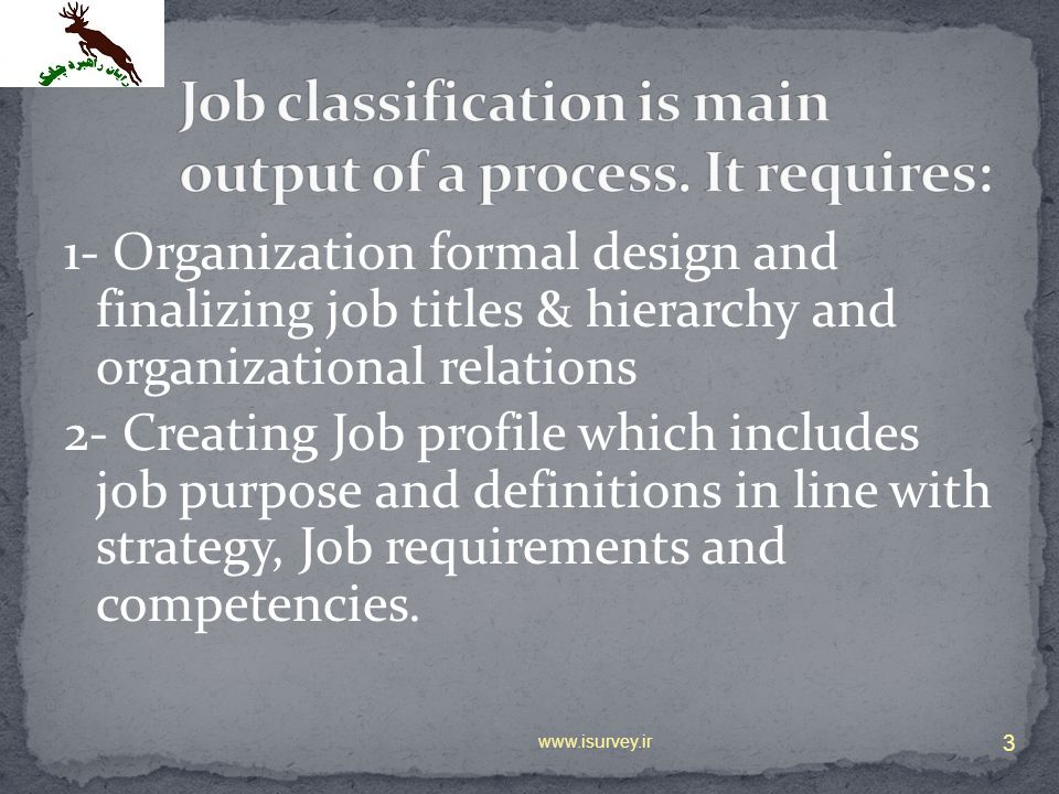 Job classification is main output of a process. It requires: