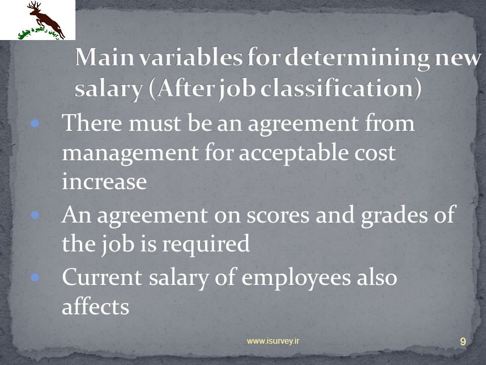 Main variables for determining new salary (After job classification)