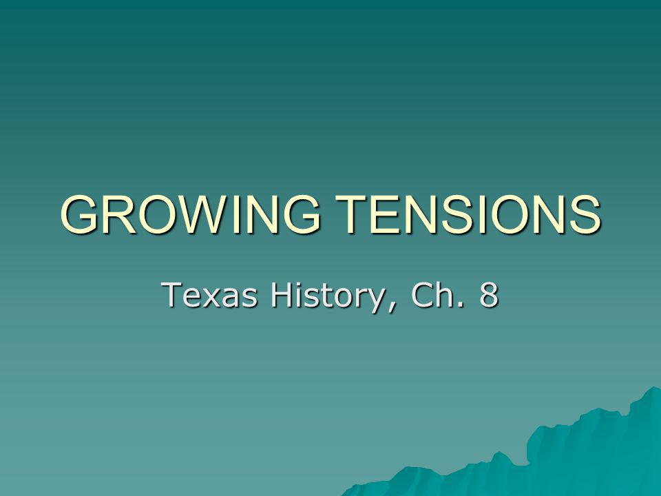 GROWING TENSIONS Texas History, Ch. 8