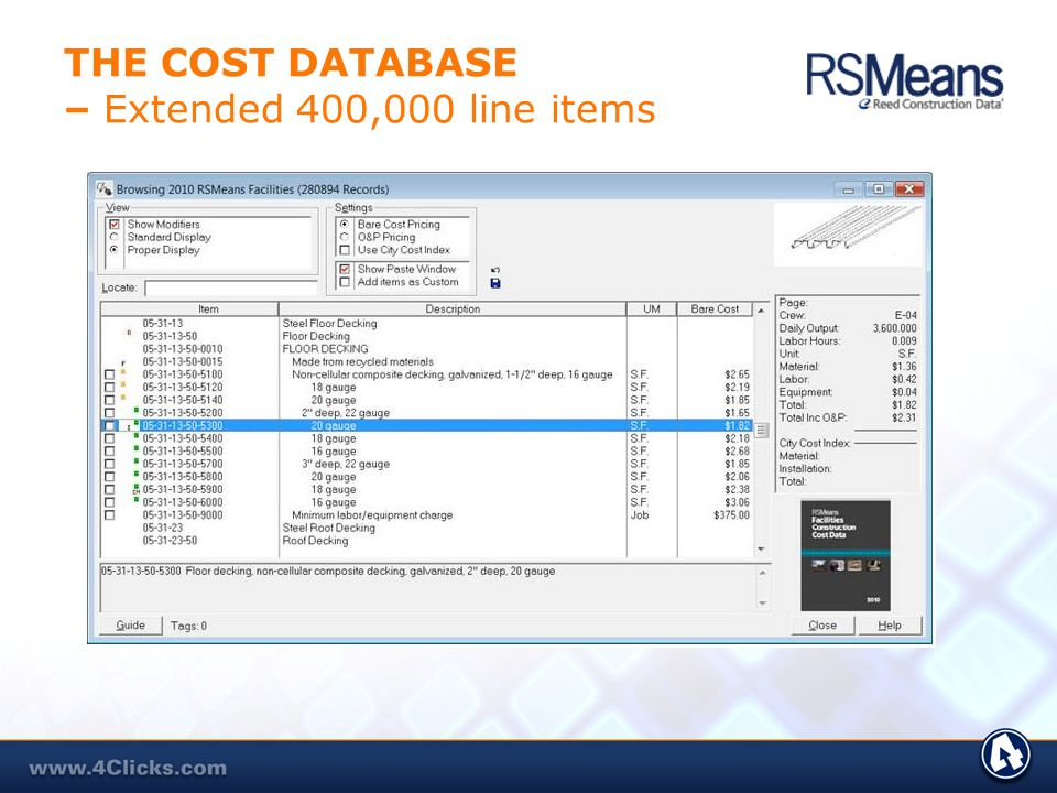 THE COST DATABASE – Extended 400,000 line items