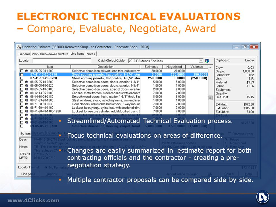 ELECTRONIC TECHNICAL EVALUATIONS – Compare, Evaluate, Negotiate, Award