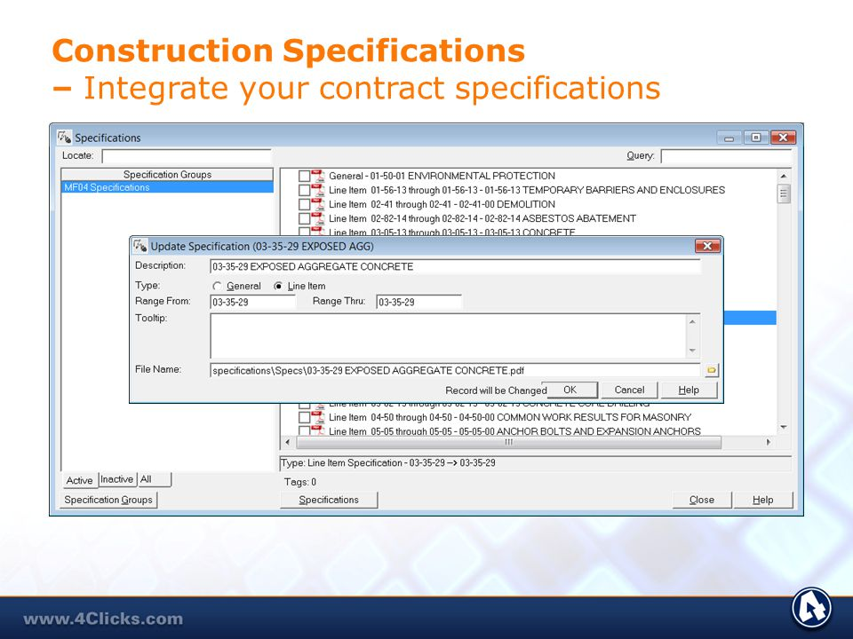 Construction Specifications – Integrate your contract specifications