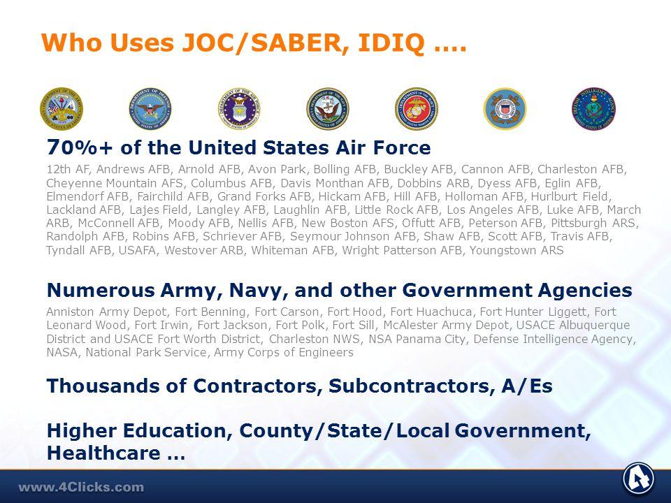Who Uses JOC/SABER, IDIQ ….
