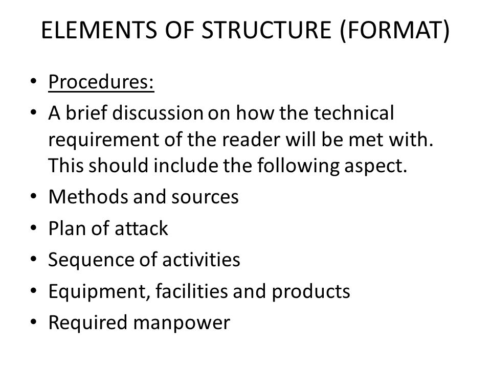 ELEMENTS OF STRUCTURE (FORMAT)