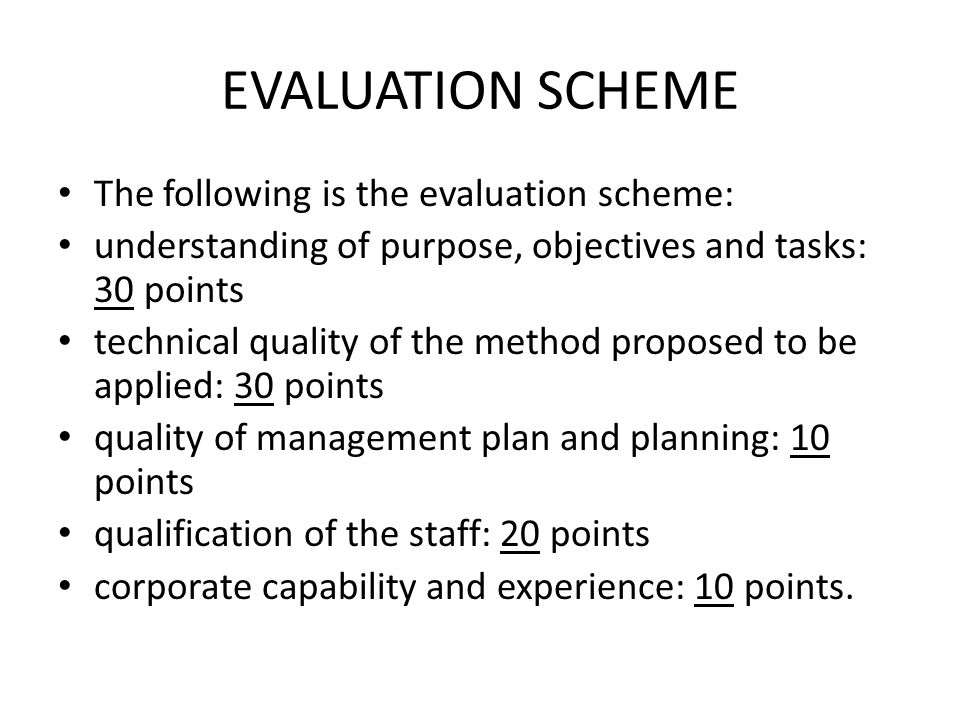 EVALUATION SCHEME The following is the evaluation scheme: