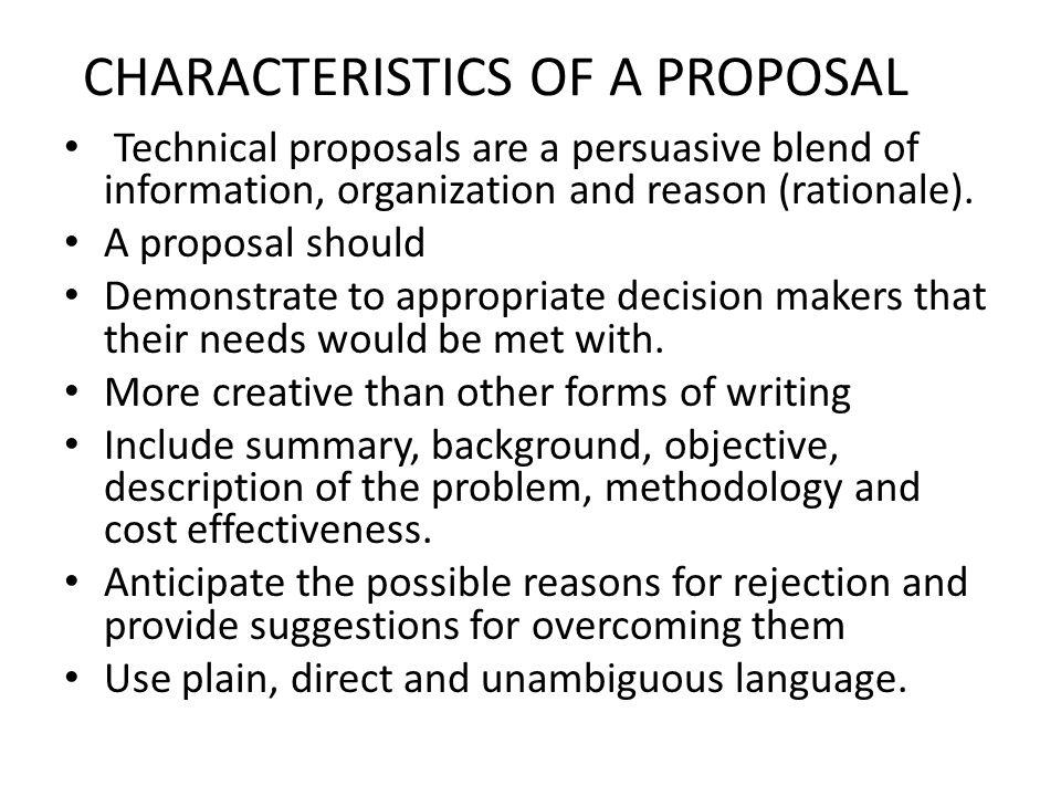 CHARACTERISTICS OF A PROPOSAL