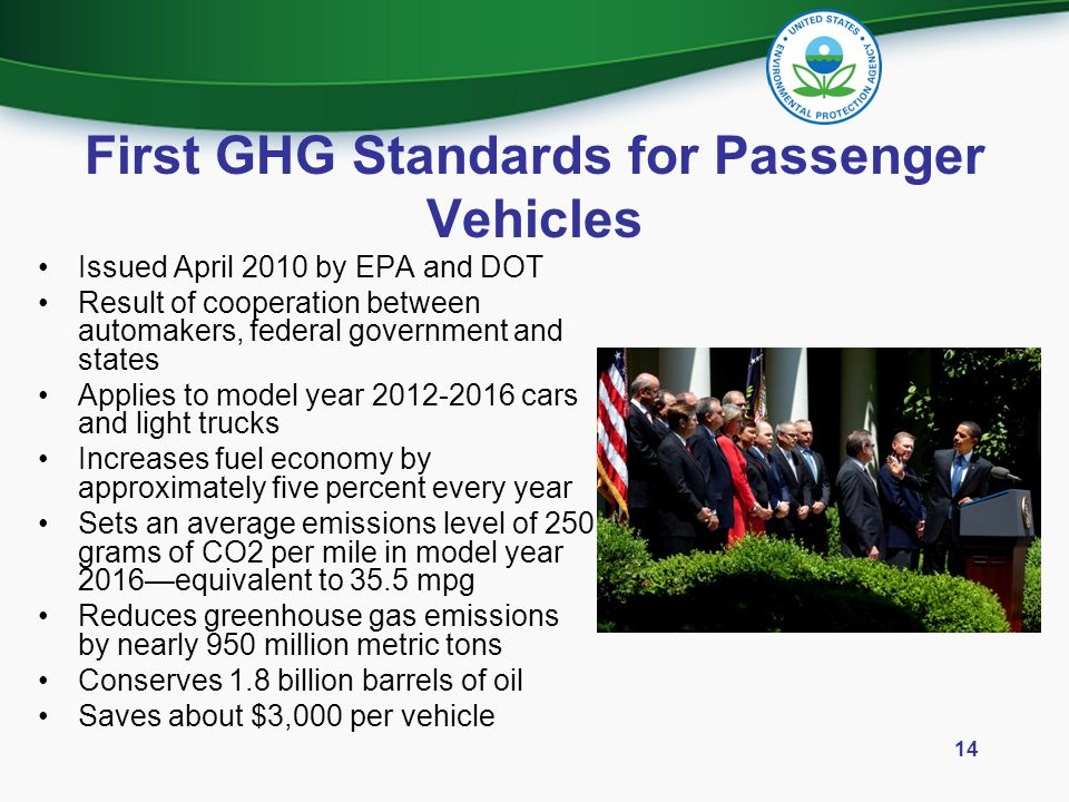 First GHG Standards for Passenger Vehicles
