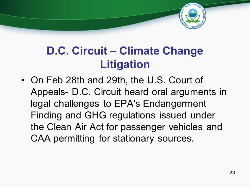 D.C. Circuit – Climate Change Litigation