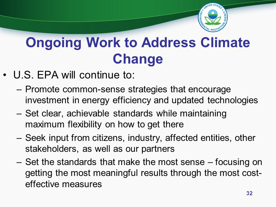 Ongoing Work to Address Climate Change