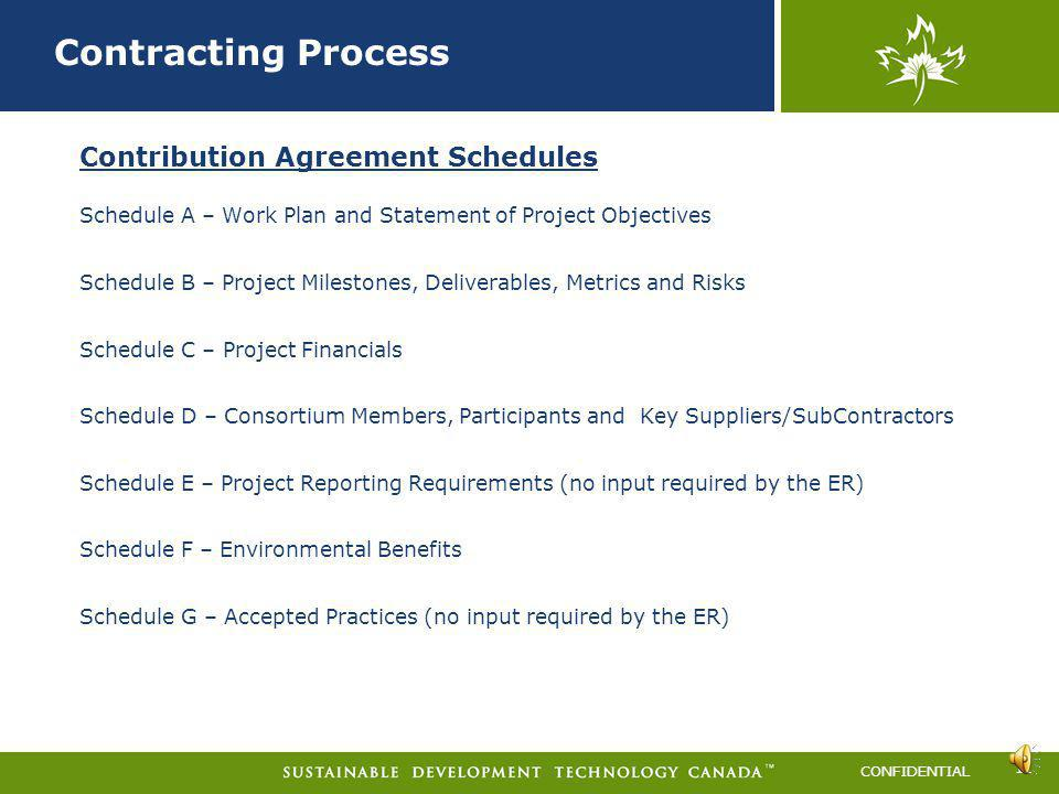 Contracting Process Contribution Agreement Schedules