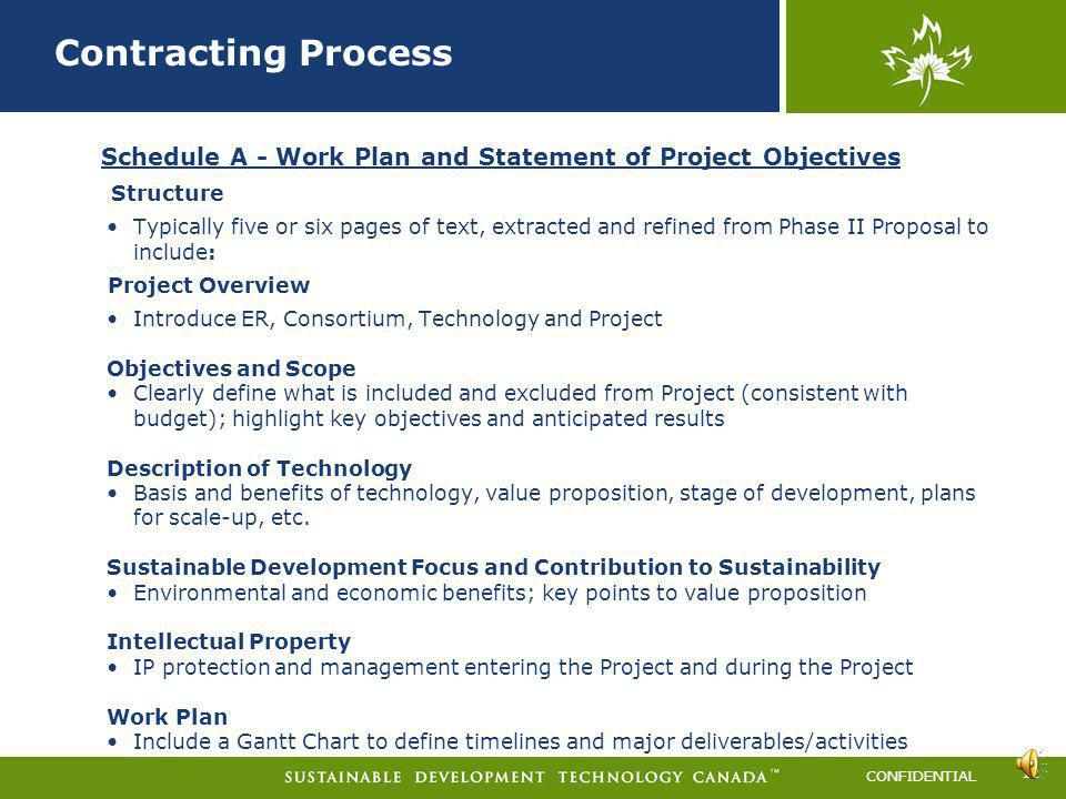 Contracting Process 2011-A. Schedule A - Work Plan and Statement of Project Objectives. Structure.