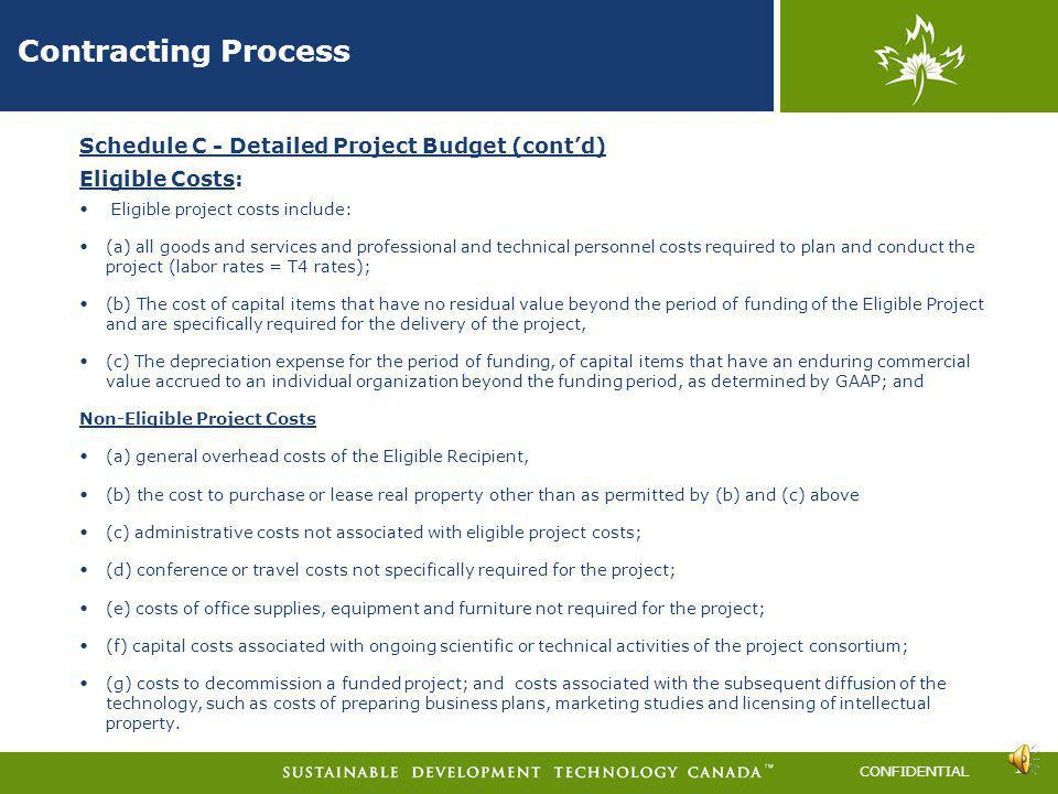 Contracting Process Schedule C - Detailed Project Budget (cont'd)