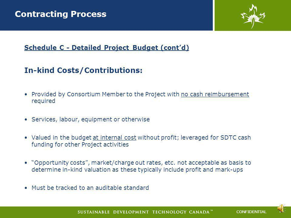 Contracting Process In-kind Costs/Contributions: