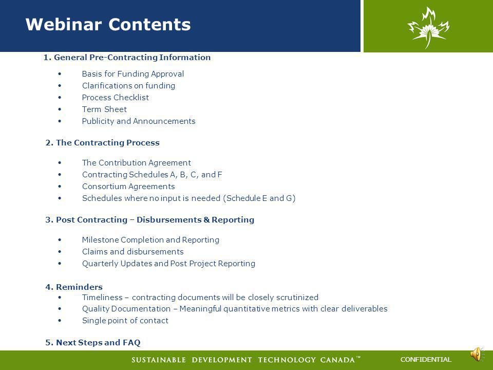 Webinar Contents 1. General Pre-Contracting Information