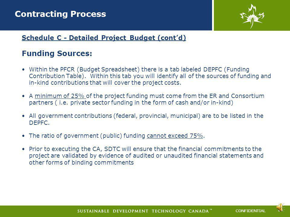 Contracting Process Funding Sources: