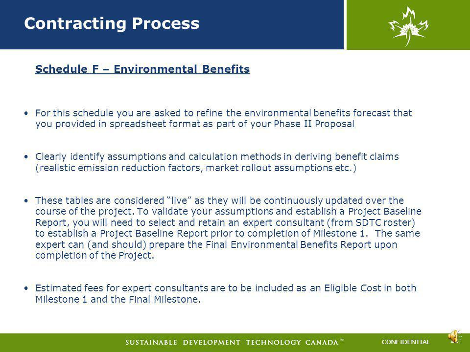 Contracting Process Schedule F – Environmental Benefits