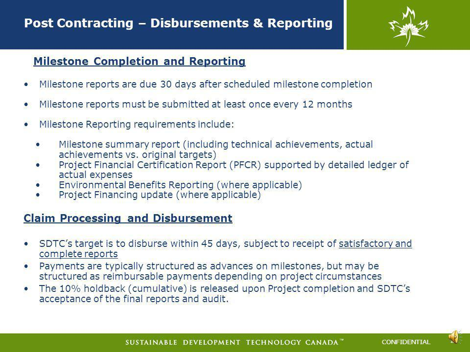 Post Contracting – Disbursements & Reporting