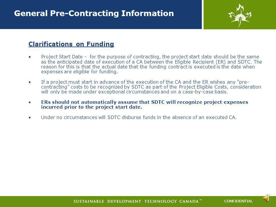 General Pre-Contracting Information