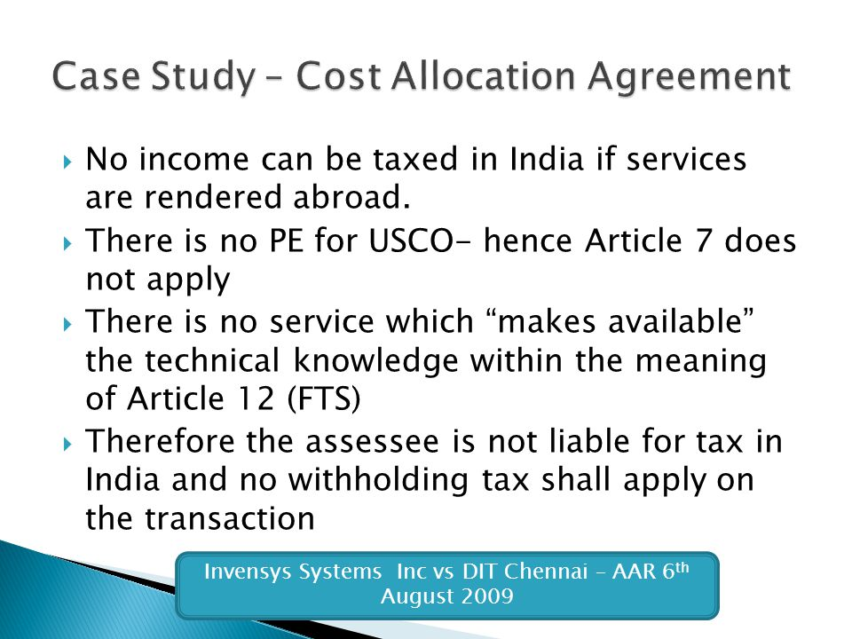 Case Study – Cost Allocation Agreement