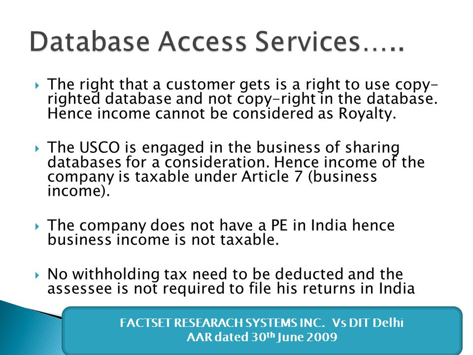 Database Access Services…..