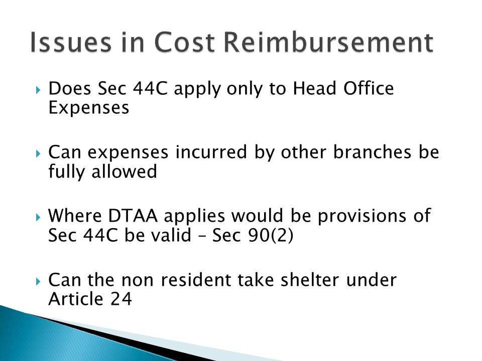 Issues in Cost Reimbursement