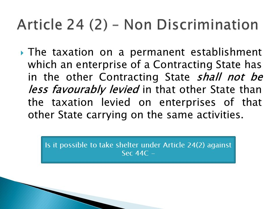 Article 24 (2) – Non Discrimination