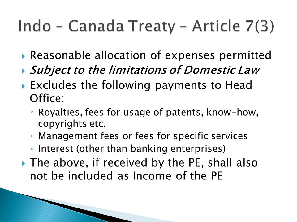 Indo – Canada Treaty – Article 7(3)