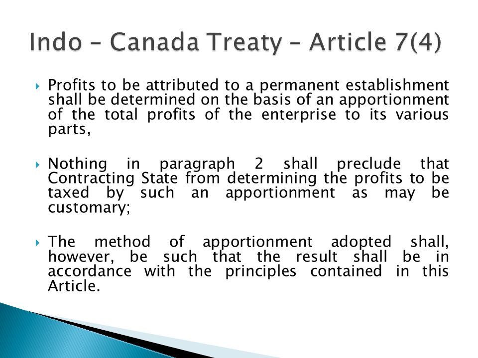 Indo – Canada Treaty – Article 7(4)