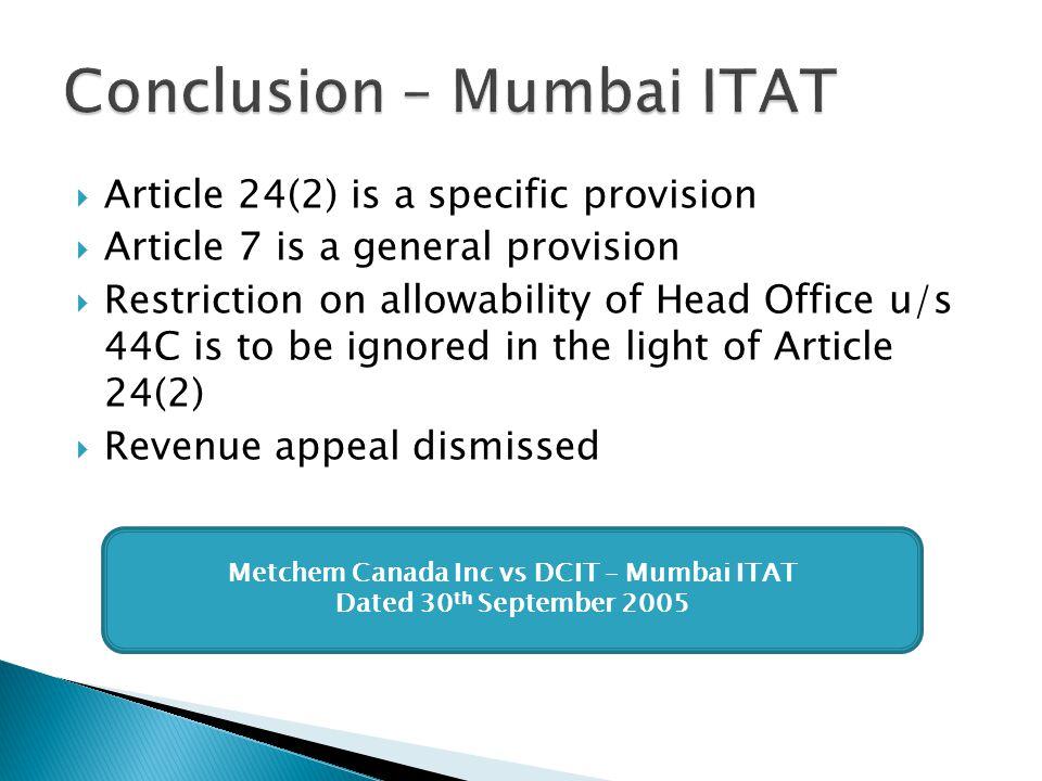 Conclusion – Mumbai ITAT