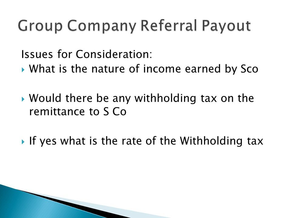 Group Company Referral Payout